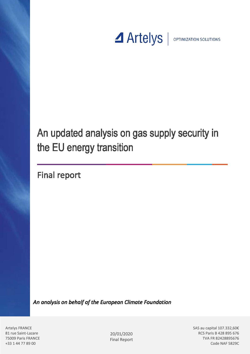 Actualisation de l'analyse de sécurité de l'approvisionnement en gaz dans la transition