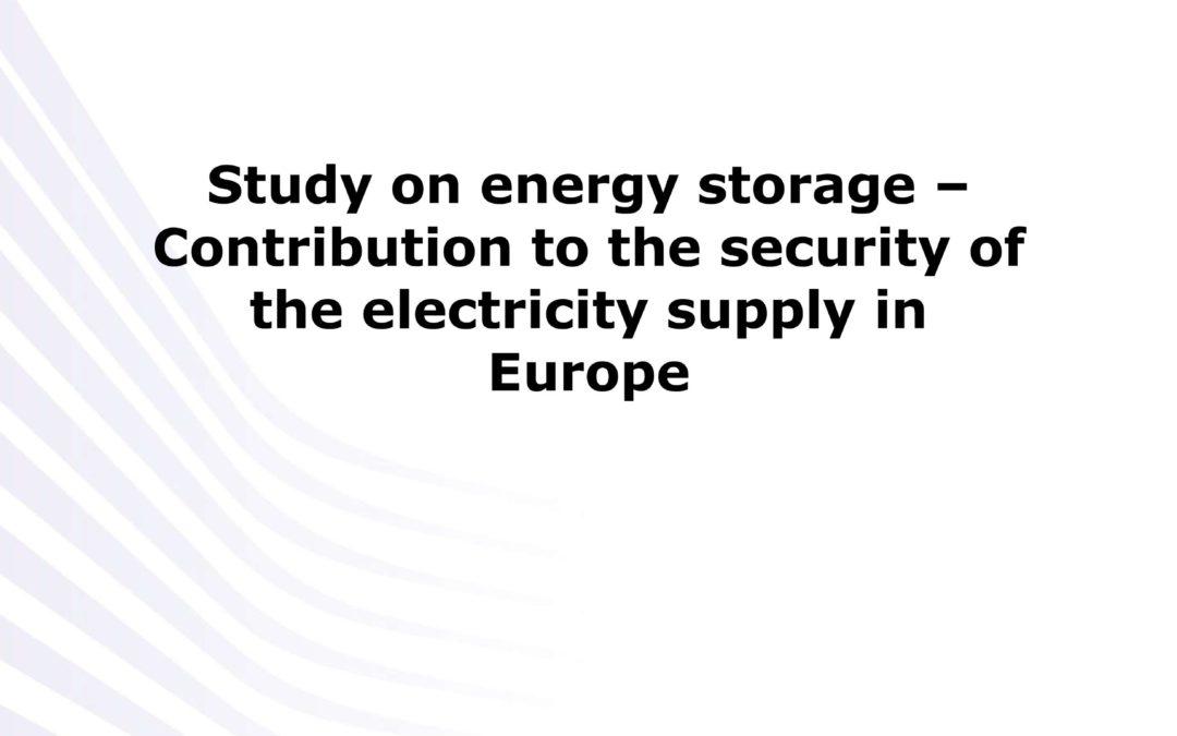 Contribution du stockage d'énergie à la sécurité de l'approvisionnement électrique en Europe